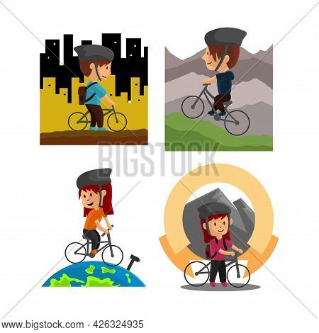 World Bicycle Day Character Design Illustration Set