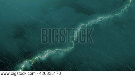 Image of thunderstorm with lightning, heavy rain and green clouds. power of nature elements weather adversity concept digitally generated image.
