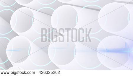 Image of glowing network of 3d white round shapes. global online network technology connection communication concept digitally generated image.