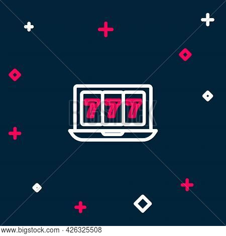 Line Online Slot Machine With Lucky Sevens Jackpot Icon Isolated On Blue Background. Online Casino.