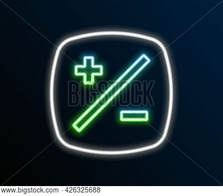 Glowing Neon Line Exposure Compensation Icon Isolated On Black Background. Colorful Outline Concept.