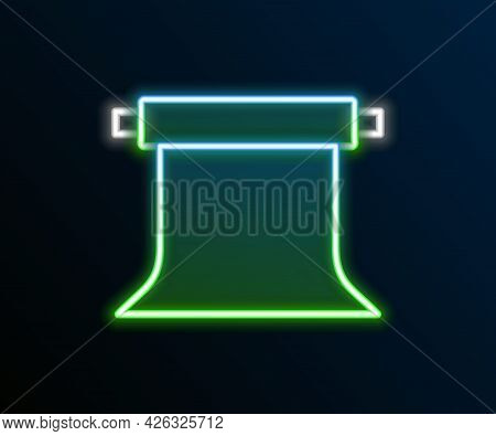 Glowing Neon Line Empty Photo Studio Icon Isolated On Black Background. Screen Backdrop. Colorful Ou