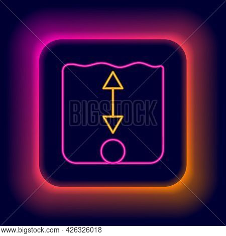 Glowing Neon Line Depth Measurement Icon Isolated On Black Background. Water Depth. Colorful Outline
