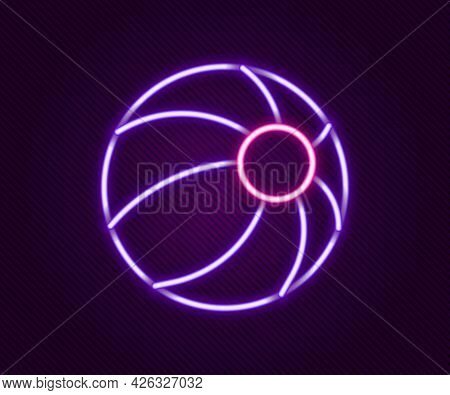 Glowing Neon Line Beach Ball Icon Isolated On Black Background. Children Toy. Colorful Outline Conce