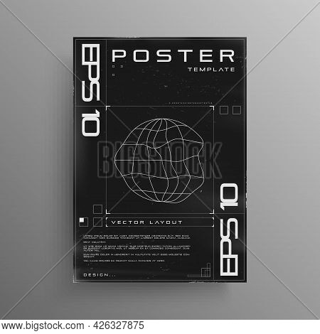Retro Cyberpunk Poster With Wireframe Liquid Distorted Planet. Black And White Retrofuturistic Poste