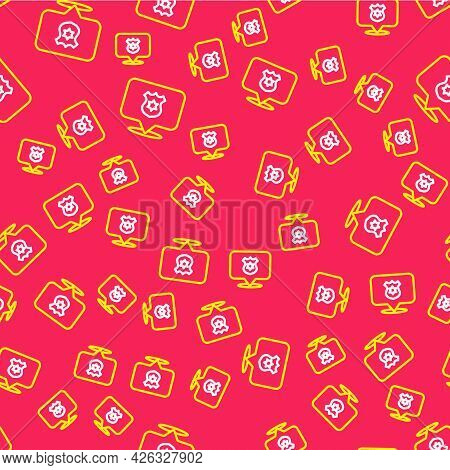Line Police Badge Icon Isolated Seamless Pattern On Red Background. Sheriff Badge Sign. Vector