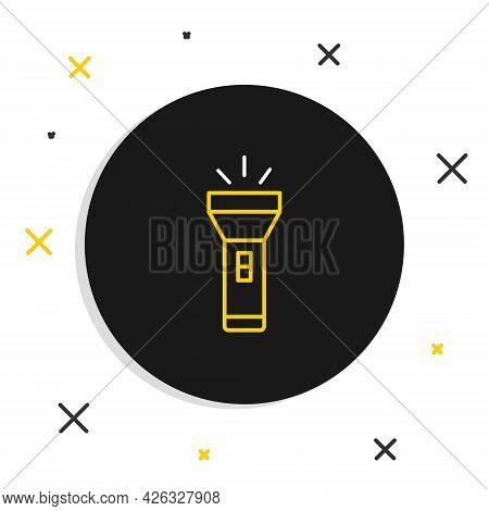 Line Flashlight Icon Isolated On White Background. Colorful Outline Concept. Vector