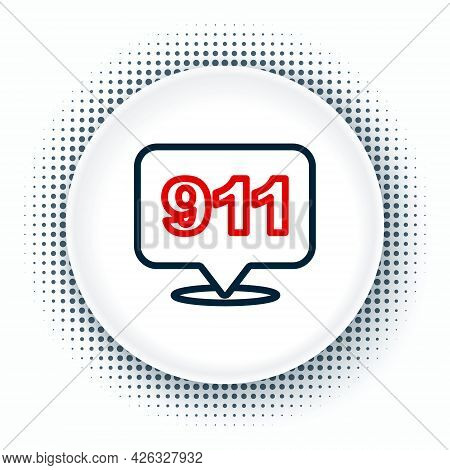 Line Telephone With Emergency Call 911 Icon Isolated On White Background. Police, Ambulance, Fire De