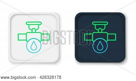 Line Industry Metallic Pipe And Valve Icon Isolated On White Background. Colorful Outline Concept. V