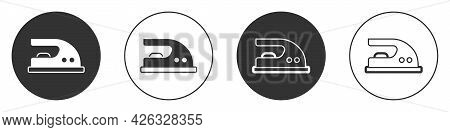 Black Electric Iron Icon Isolated On White Background. Steam Iron. Circle Button. Vector