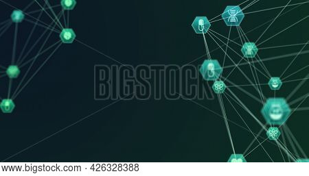 Image of network of connections with digital medical icons forming two globes rotating on green background. Digital interface global computer network concept digitally generated image.