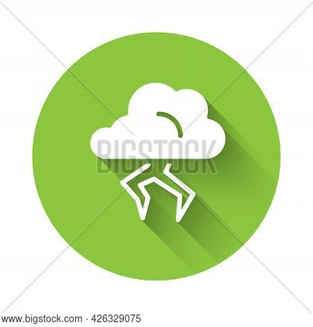 White Storm Icon Isolated With Long Shadow. Cloud And Lightning Sign. Weather Icon Of Storm. Green C