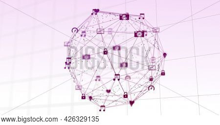 Image of network of connections with digital icons forming a globe rotating on grid and white background. Digital interface global computer network concept digitally generated image.