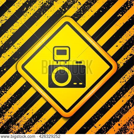 Black Photo Camera With Lighting Flash Icon Isolated On Yellow Background. Foto Camera. Digital Phot