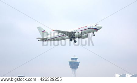 Munich, Germany - 11 October 2015: Airbus A319-111 Of Rossiya Takes Off From Munich Muc Airport With