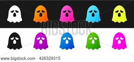 Set Ghost Icon Isolated On Black And White Background. Happy Halloween Party. Vector