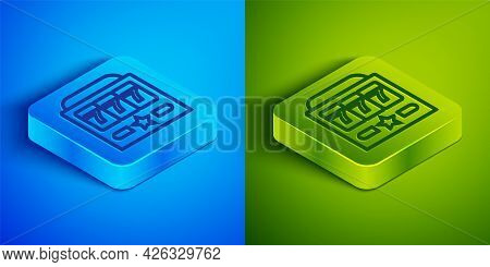 Isometric Line Slot Machine With Lucky Sevens Jackpot Icon Isolated On Blue And Green Background. Sq