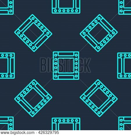Green Line Camera Vintage Film Roll Cartridge Icon Isolated Seamless Pattern On Blue Background. 35m
