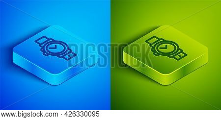 Isometric Line Wrist Watch Icon Isolated On Blue And Green Background. Wristwatch Icon. Square Butto