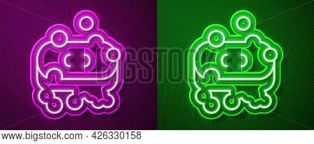 Glowing Neon Line Bar Of Soap With Foam Icon Isolated On Purple And Green Background. Soap Bar With