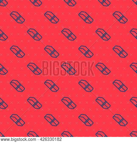 Blue Line Eraser Or Rubber Icon Isolated Seamless Pattern On Red Background. Vector