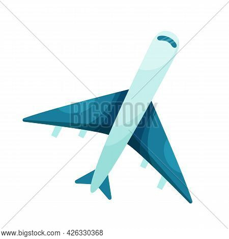 Сartoon Plane. View From Above. Vector Illustration On White Background.