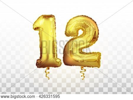Vector Realistic Isolated Golden Balloon Number Of 12 On The Transparent Background. Celebrating Of