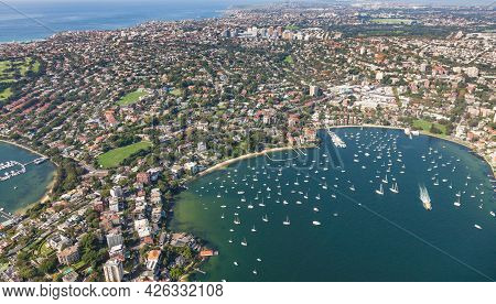 Aerial View Of Double Bay Through To Bondi Junction. This Sydney Harbour Side Area Is Filled With So