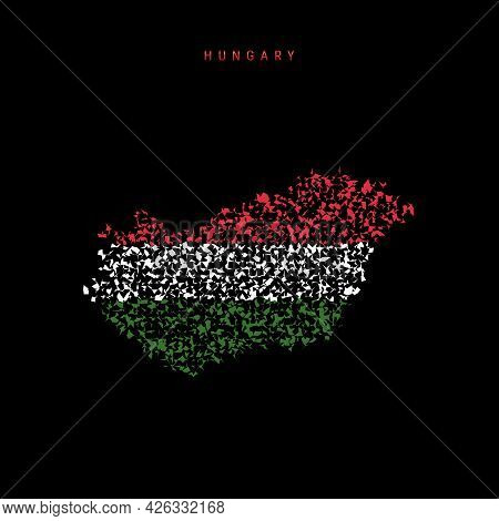 Hungary Flag Map, Chaotic Particles Pattern In The Colors Of The Hungarian Flag. Vector Illustration