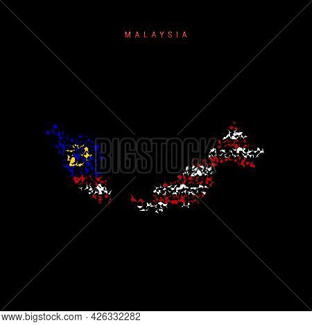 Malaysia Flag Map, Chaotic Particles Pattern In The Colors Of The Malaysian Flag. Vector Illustratio