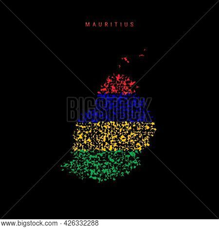 Mauritius Flag Map, Chaotic Particles Pattern In The Colors Of The Mauritian Flag. Vector Illustrati