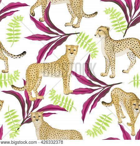 Cheetah Wild Animal, Pink Leaf Dracaena Ti And Green Tropical Plant Illustration Drawing Seamless Re