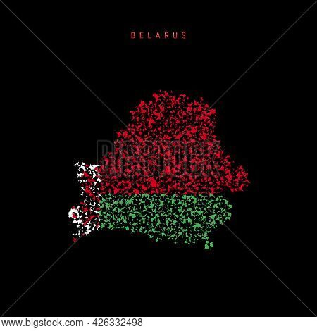 Belarus Flag Map, Chaotic Particles Pattern In The Colors Of The Belorussian Flag. Vector Illustrati