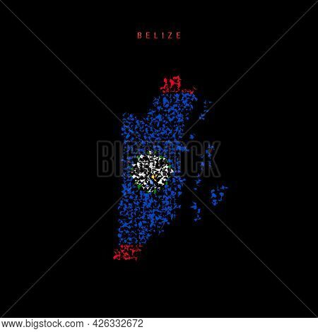 Belize Flag Map, Chaotic Particles Pattern In The Colors Of The Belizean Flag. Vector Illustration I