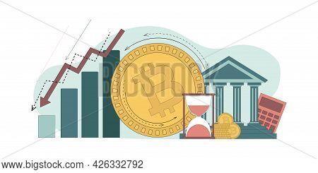 Falling Bitcoin, Recession. The Bitcoin Coin Is Rolling Towards A Decreasing Histogram. Vector Flat