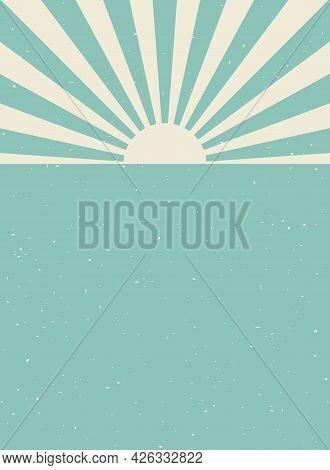 Sunlight Retro Vertical Grunge Background. Blue And Beige Color Burst Background. Vector Vertical Il