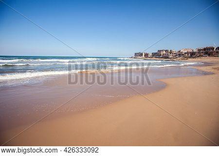 Empty Beach Of Torrevieja City. Costa Blanca, Province Of Alicante. Spain