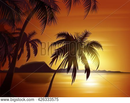 Vector Palm Trees Silhouette With Orange Sunset, Ocean And Rocks