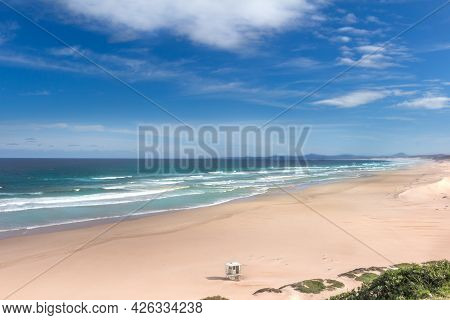 Panorama View Over The Maitland Mouth Empty Beach Near Port Elizabeth On A Summer Morning, Clean And
