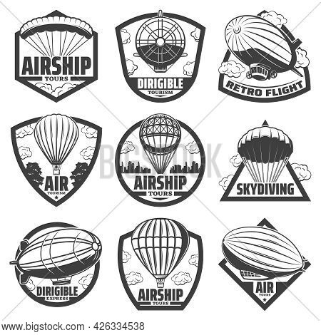 Vintage Monochrome Airship Labels Set With Inscriptions Hot Air Balloons Blimps And Dirigibles Isola