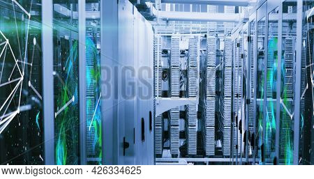 Image of data processing and digital information flowing through network of computer servers in server room. Global network of internet service provider or data processing centre concept.