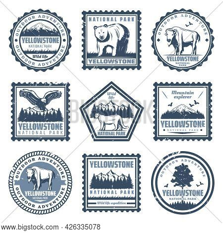 Vintage National Park Stamps Set With Inscriptions Bear Buffalo Puma Eagle And Nature Landscapes Iso