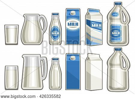 Vector Set Of Milk Products, Lot Collection Of Cut Out Illustrations Variety Full Glasses, Various J