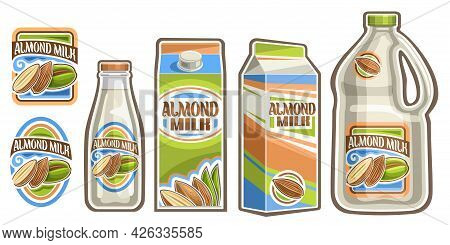 Vector Set Of Almond Milk, Lot Collection Of Cut Out Illustrations Labels With Half And Whole Almond
