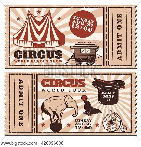 Vintage Circus Show Advertising Horizontal Tickets With Marquee Wagon Trained Animals Bicycle Magic