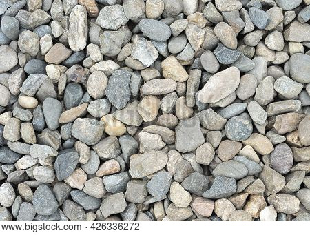 Background, Texture Rubble And Stones Background From Gray High-strength Crushed Stone Of High Resol