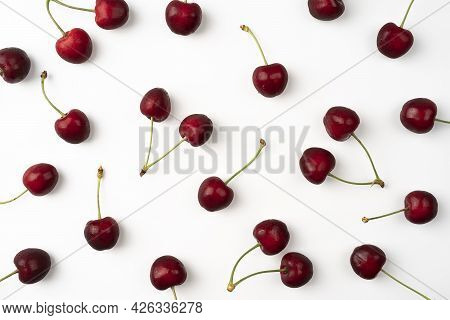 Fresh Summer Dark Red Sweet Cherry Isolated On A White Background Pattern With Sweet Cherry Top View