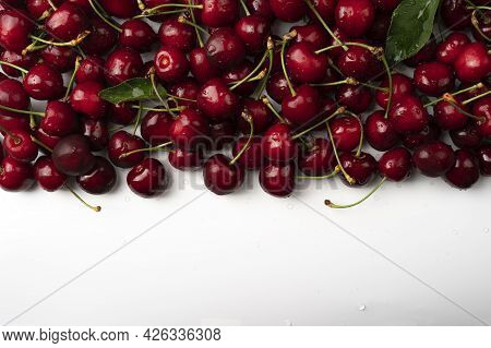 Macro Photo Fresh Cherry Stock Photo Background Sweet Cherry Background Of Ripe Cherries Close Up