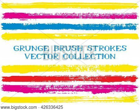 Long Ink Brush Strokes Isolated Design Elements. Set Of Paint Lines. Vintage Stripes, Textured Paint