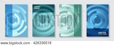 Marketing Booklet Covers Templates. Techno Newsletter Gradient Circles Twist Vector Backdrops. Aim